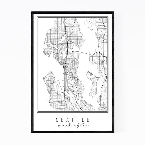 Noir Gallery Seattle Washington City Map Framed Art Print