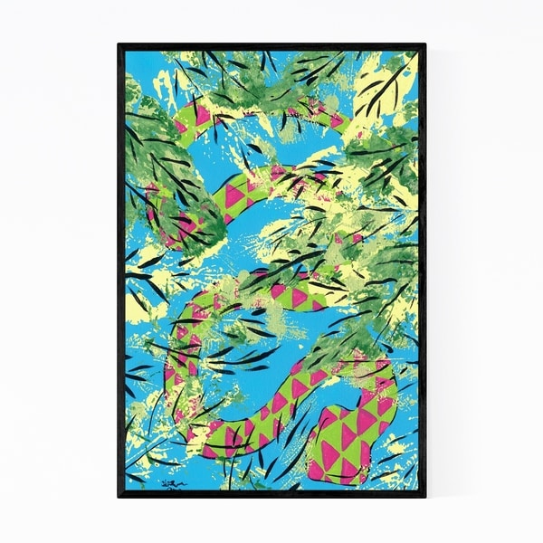 Noir Gallery Floral Snakes Animals Painting Framed Art Print