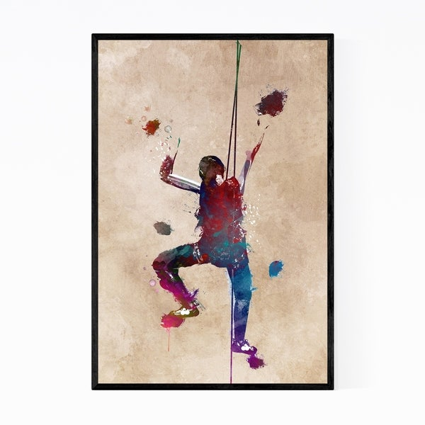 Noir Gallery Rock Climbing Sports Illustration Framed Art Print