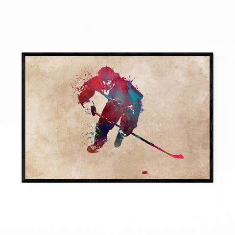 Noir Gallery Hockey Sports Illustration Framed Art Print