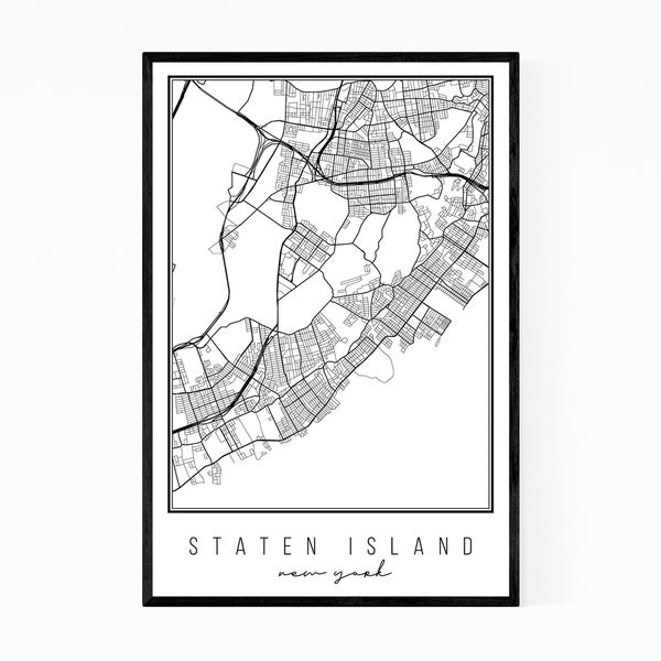 Noir Gallery Staten Island New York City Map Framed Art Print