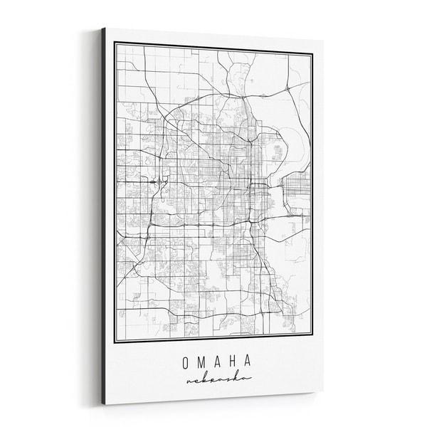 Noir Gallery Omaha Nebraska City Map Canvas Wall Art Print