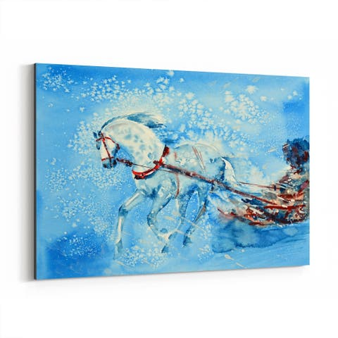 Noir Gallery Animal Holiday Horse Winter Painting Canvas Wall Art Print