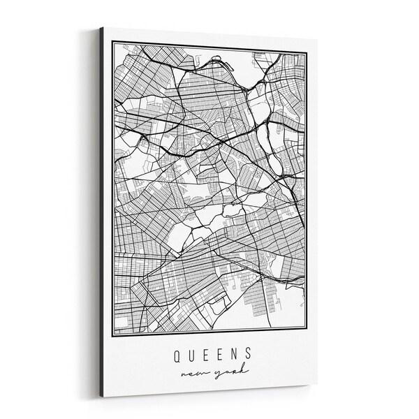 Noir Gallery Queens New York City Map Canvas Wall Art Print