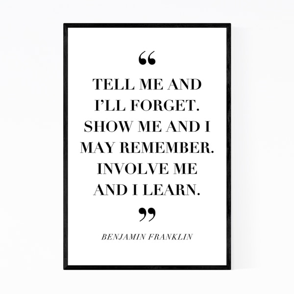 Noir Gallery Benjamin Franklin Quote Typography Framed Art Print