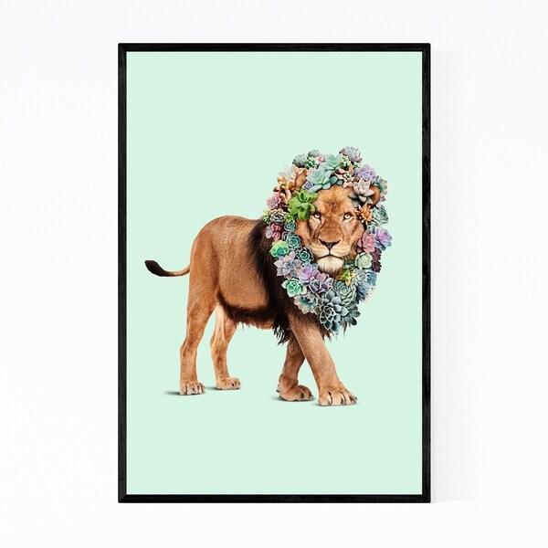 Noir Gallery Floral Funny Lion Succulents Framed Art Print