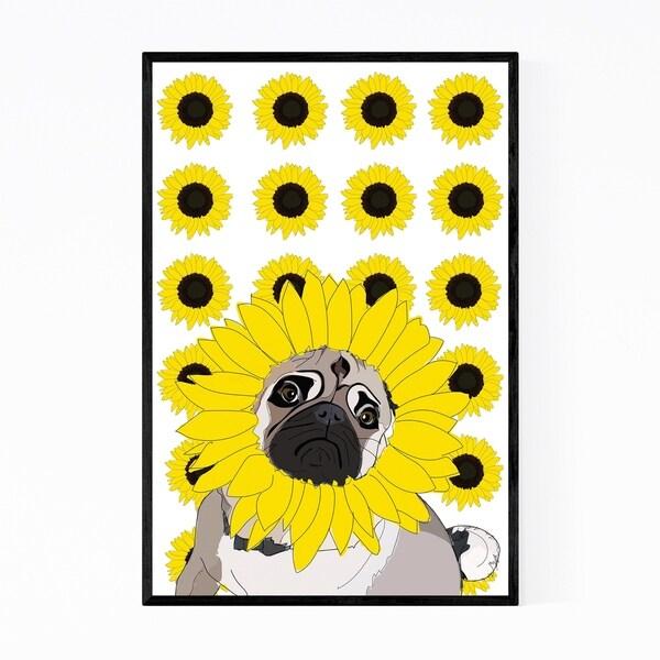Noir Gallery Pug Dog Sunflowers Illustration Framed Art Print