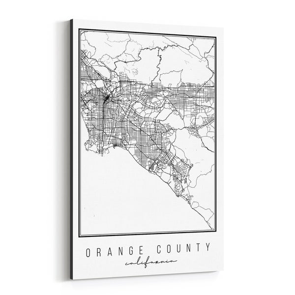 Noir Gallery Orange County California City Map Canvas Wall Art Print