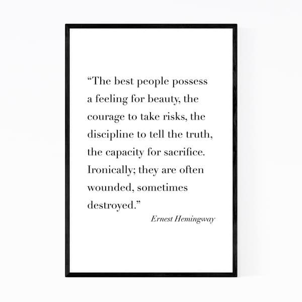 Noir Gallery Ernest Hemingway Quote Typography Framed Art Print