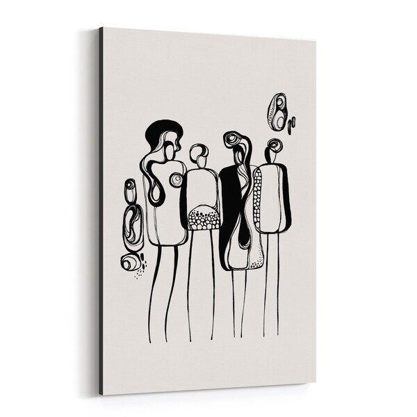 Noir Gallery Abstract Figurative Line Drawing Canvas Wall Art Print