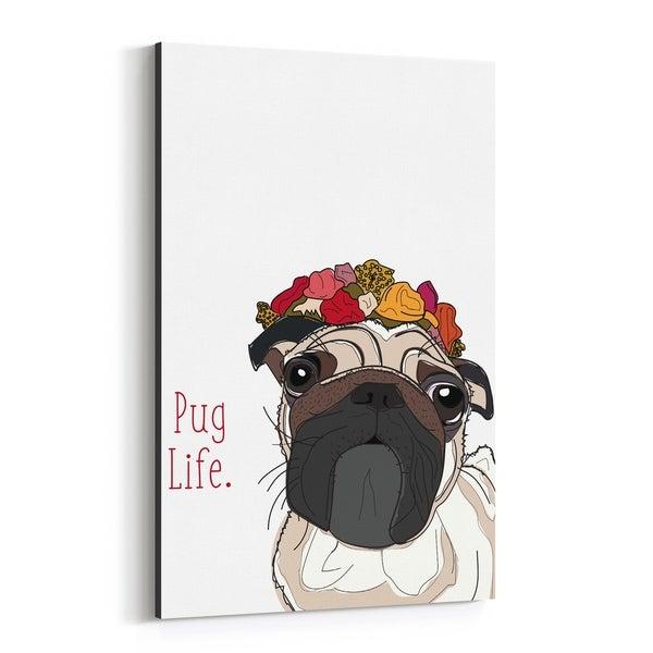 Noir Gallery Dog Pug Illustration Canvas Wall Art Print