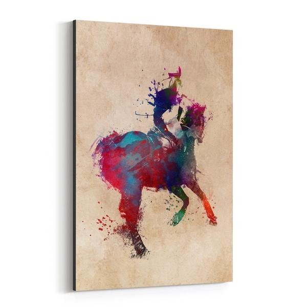 Noir Gallery Horseback Riding Sports Illustration Canvas Wall Art Print