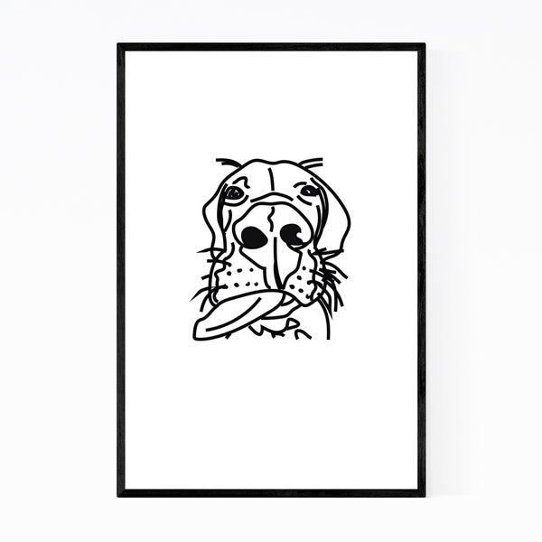 Noir Gallery Dog Great Dane Illustration Framed Art Print