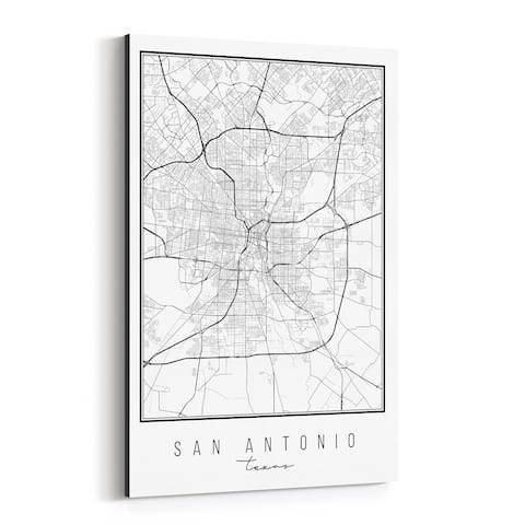 Noir Gallery San Antonio Texas City Map Canvas Wall Art Print