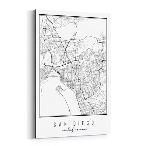 Noir Gallery California San Diego City Map Canvas Wall Art Print