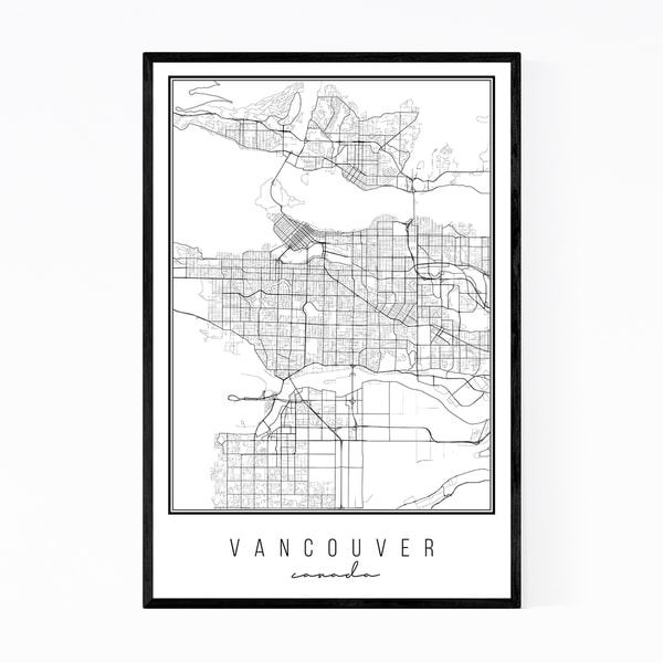 Noir Gallery Vancouver Canada Map Framed Art Print