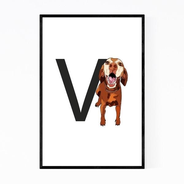Noir Gallery Dog Vizsla Illustration Framed Art Print