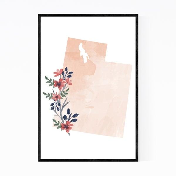Noir Gallery Utah Floral State Map Framed Art Print