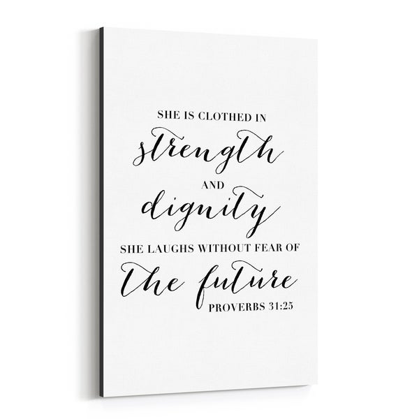 Noir Gallery Proverbs 31:25 Bible Typography Canvas Wall Art Print
