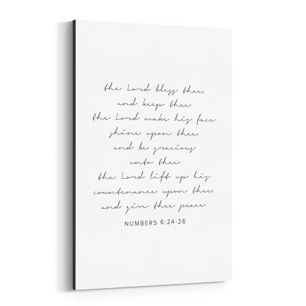 Noir Gallery Numbers 6:24-26 Bible Typography Canvas Wall Art Print
