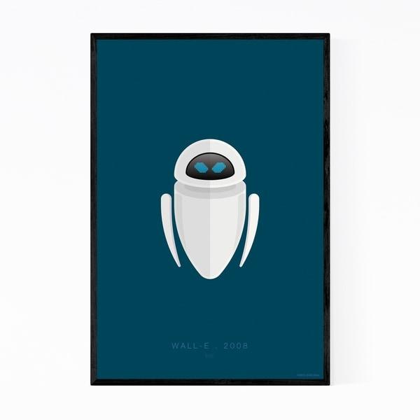Noir Gallery Wall-E Robots Movie TV Illustration Framed Art Print