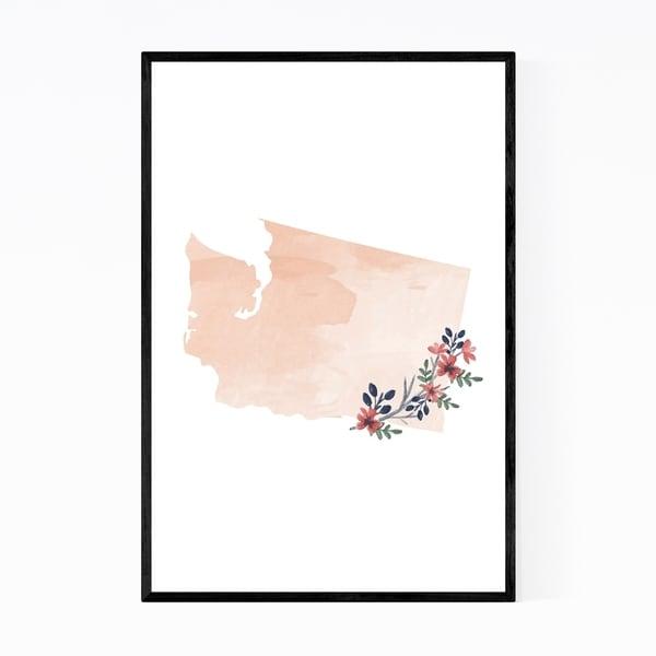 Noir Gallery Washington State Map Framed Art Print
