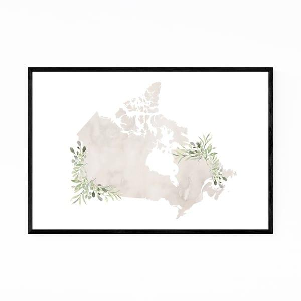 Noir Gallery Canada Watercolor Map Framed Art Print