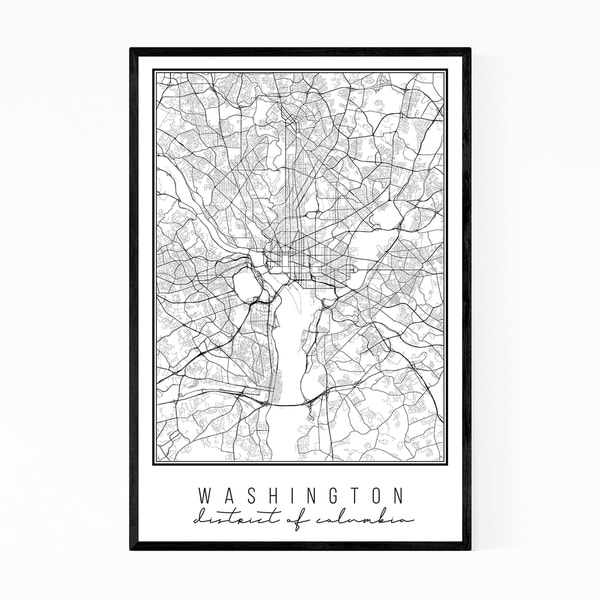 Noir Gallery Washington DC State Map Framed Art Print
