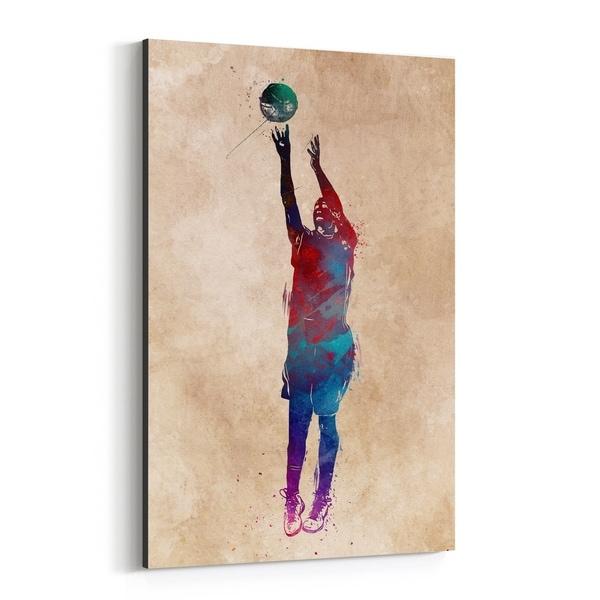 Noir Gallery Basketball Sports Illustration Canvas Wall Art Print