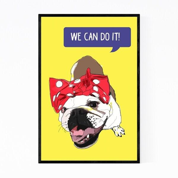 Noir Gallery Dog Bulldog Figurative Feminism Framed Art Print