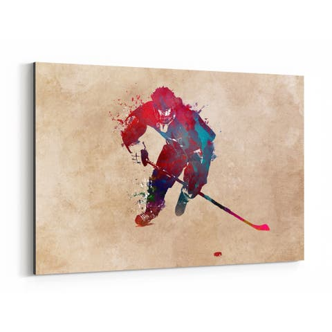 Noir Gallery Hockey Sports Illustration Canvas Wall Art Print