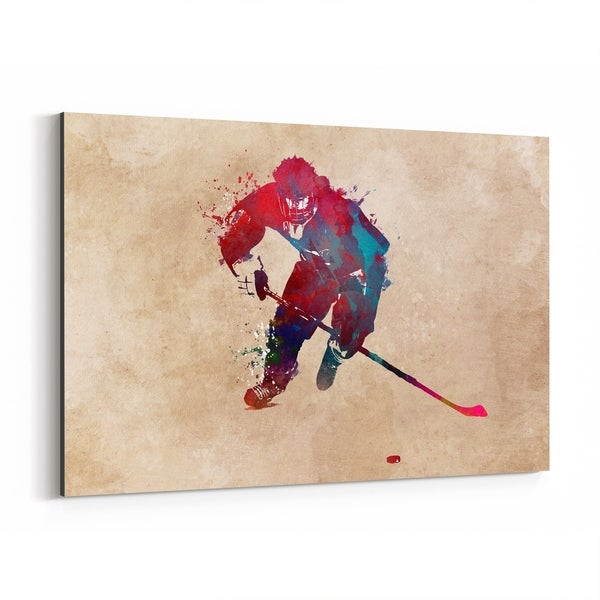 Noir Gallery Hockey Sports Illustration Canvas Wall Art Print