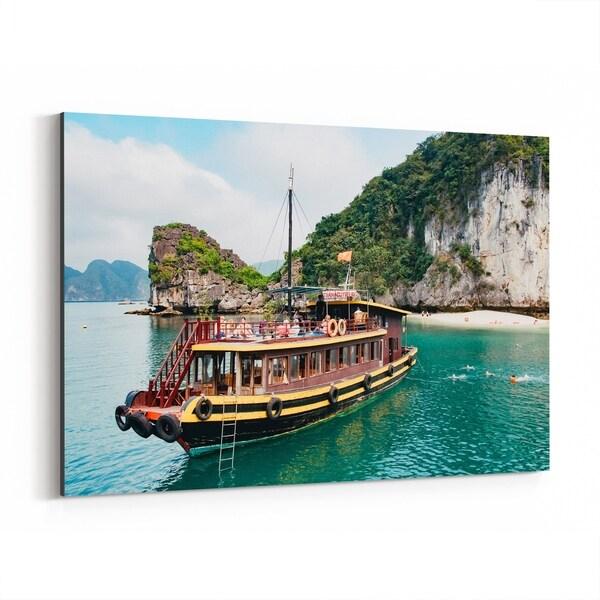 Noir Gallery Halong Bay Vietnam Beach Boats Photo Canvas Wall Art Print