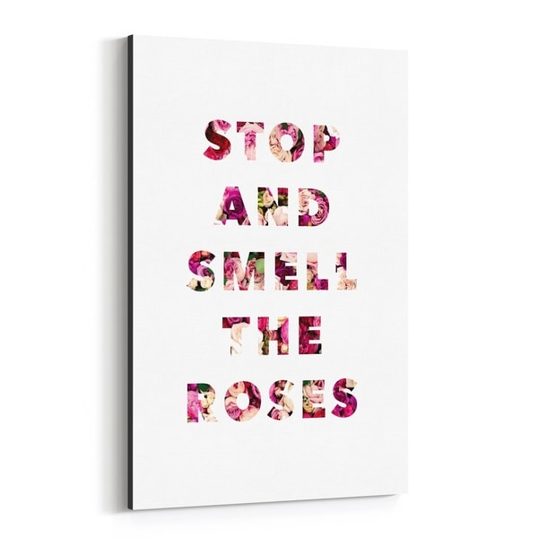 Noir Gallery Floral Minimal Typography Canvas Wall Art Print