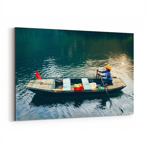 Noir Gallery Tam Coc Vietnam Beach Boats Photo Canvas Wall Art Print