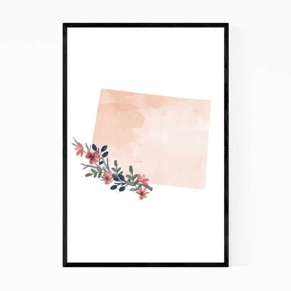 Noir Gallery Wyoming Floral State Map Framed Art Print