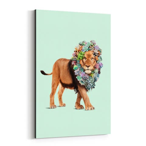 Noir Gallery Floral Funny Lion Succulents Canvas Wall Art Print