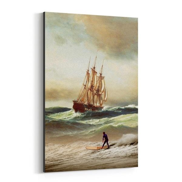 Noir Gallery Funny Beach Nautical Surfing Canvas Wall Art Print