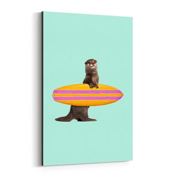 Noir Gallery Humor Otter Surfing Illustration Canvas Wall Art Print