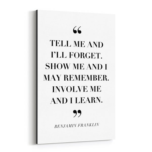 Noir Gallery Benjamin Franklin Quote Typography Canvas Wall Art Print