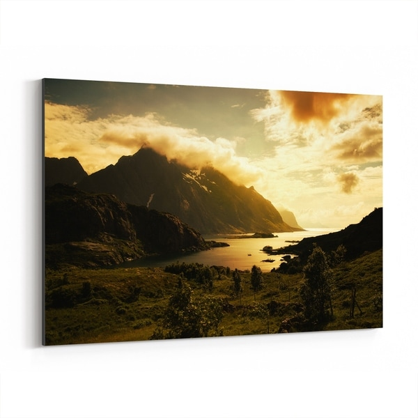 Noir Gallery Norway Mountains Nature Photo Canvas Wall Art Print