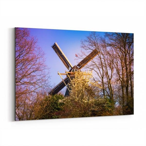 Noir Gallery Keukenhof Netherlands Windmill Canvas Wall Art Print