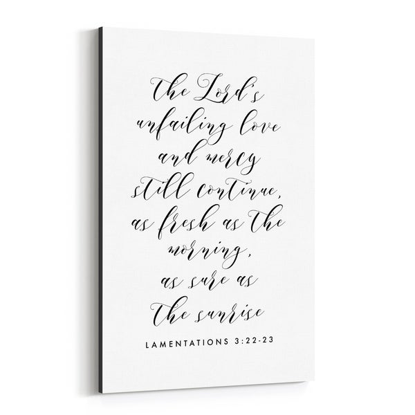 Noir Gallery Lamentations 3:22-23 Bible Typography Canvas Wall Art Print