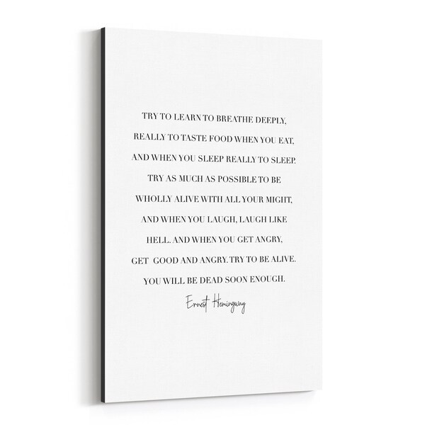 Noir Gallery Ernest Hemingway Quote Typography Canvas Wall Art Print