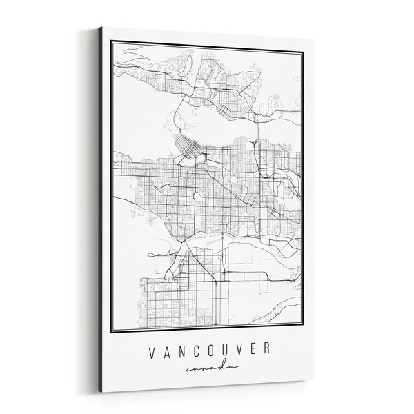 Noir Gallery Vancouver Canada Map Canvas Wall Art Print