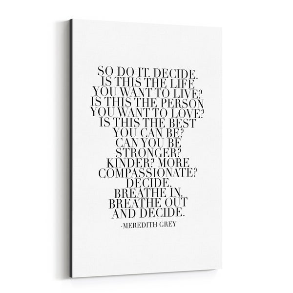 Noir Gallery Meredith Grey Quote Typography Canvas Wall Art Print