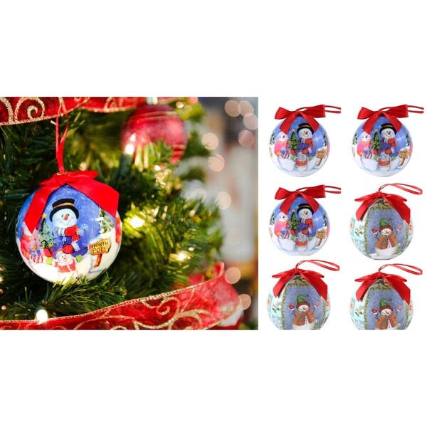 Half dozen Shatterproof Santa Clause Christmas Ball Ornament. Opens flyout.