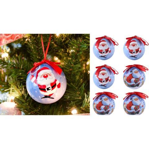 Half dozen Shatterproof Santa Clause Christmas Ball Ornament