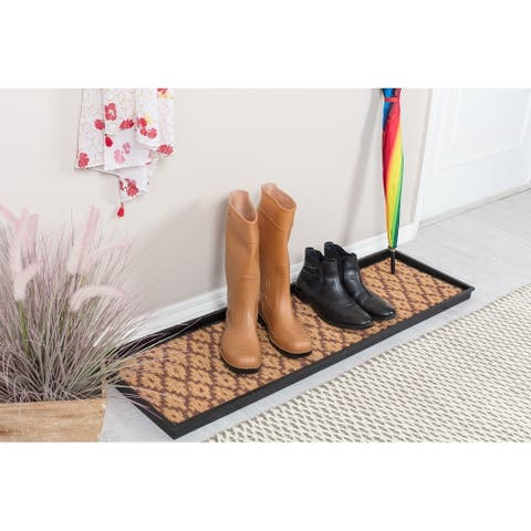 Natural and Recycled Rubber Boot Tray with Tan and Dark Brown Coir Insert