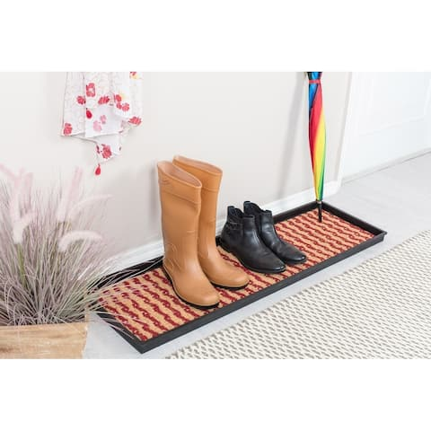 Natural and Recycled Rubber Boot Tray with Tan and Red Coir Insert